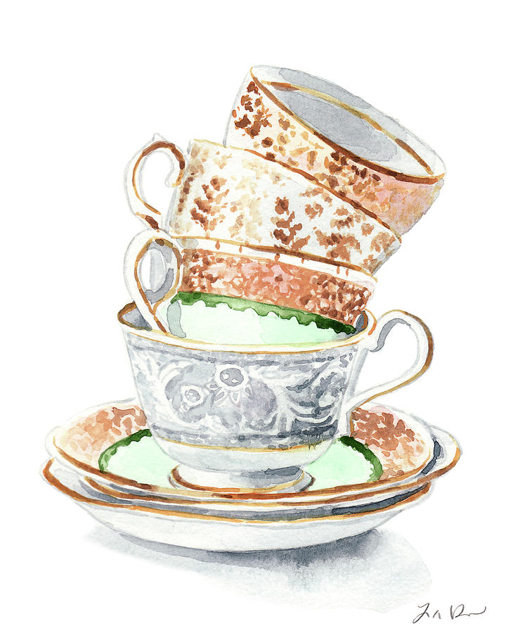 Teacups Collection Antique Watercolor Painting