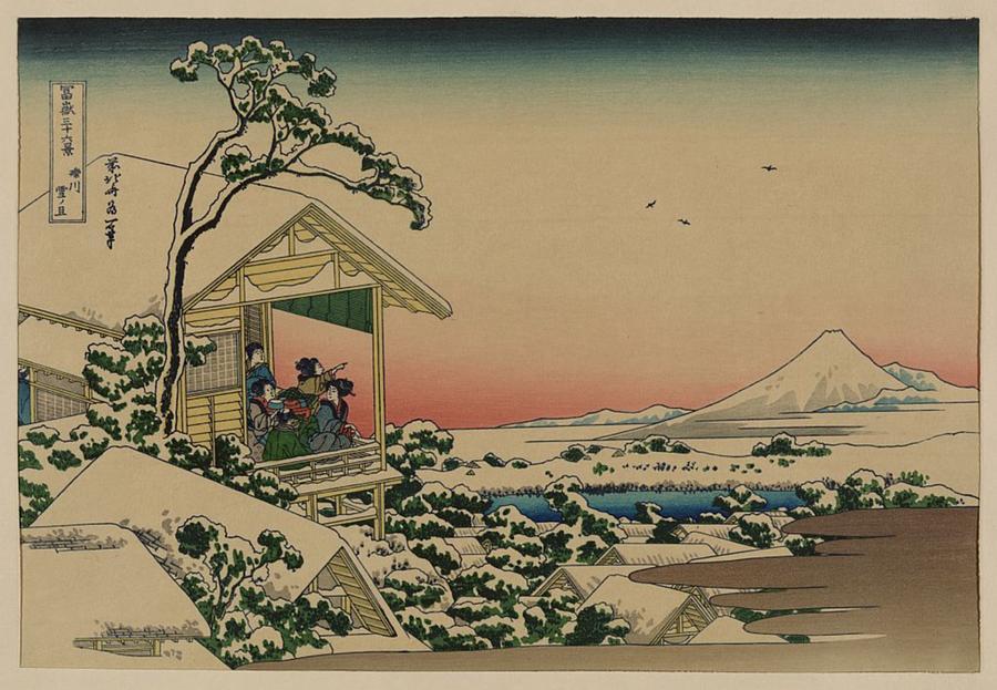 Teahouse At Koishikawa The Morning After A Snowfall Painting By Katsushika Hokusai