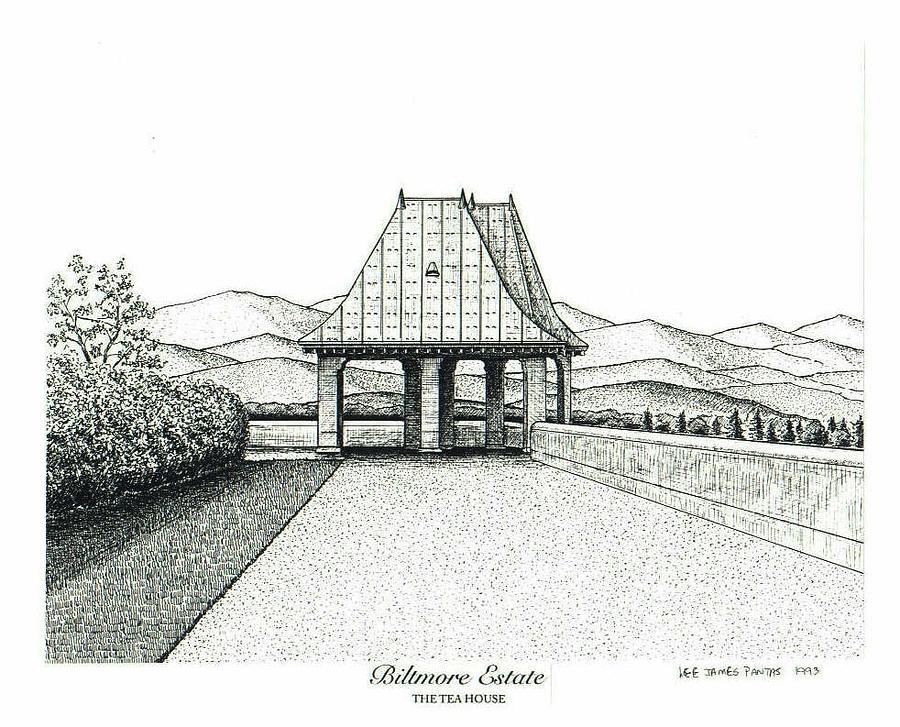 Biltmore Estate Drawing - Teahouse on Biltmore Estate by Lee Pantas