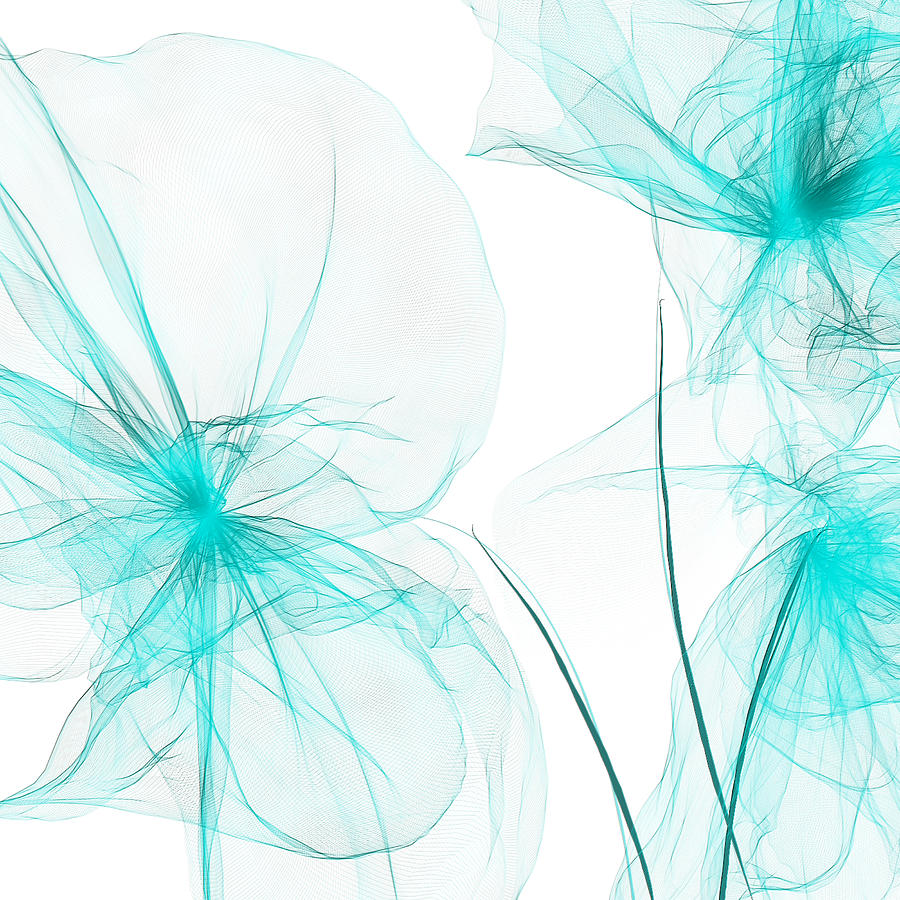 Teal Abstract Flowers Painting By Lourry Legarde