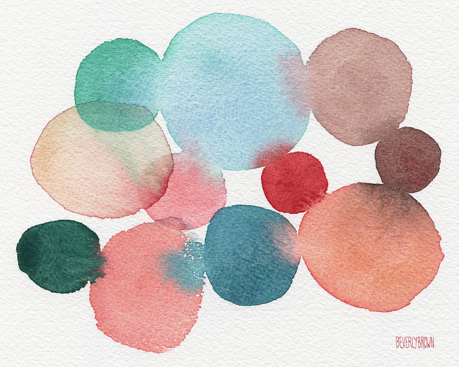 Blue Coral Painting - Teal And Coral Abstract Watercolor  by Beverly Brown