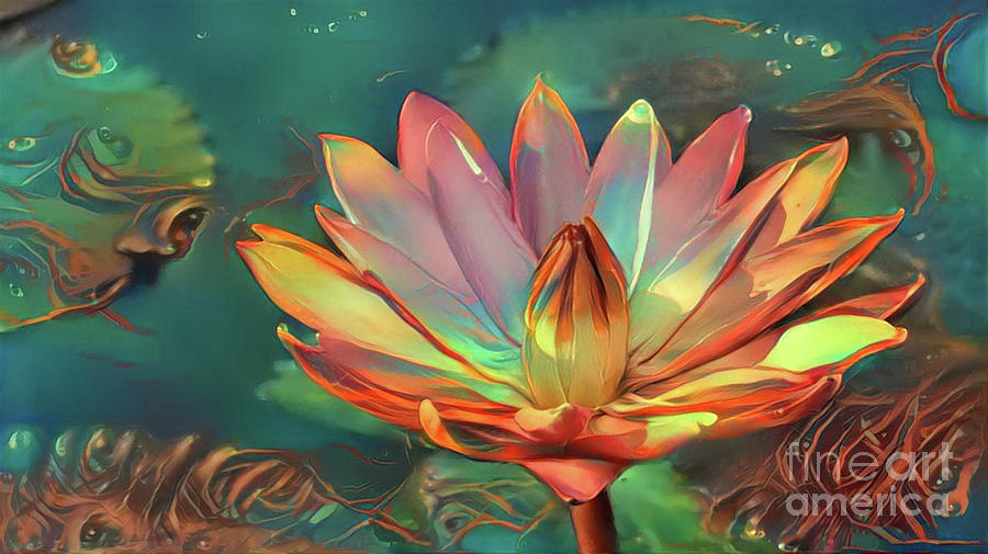 Aquatic Plant Digital Art - Teal And Peach Waterlilies by Amy Cicconi