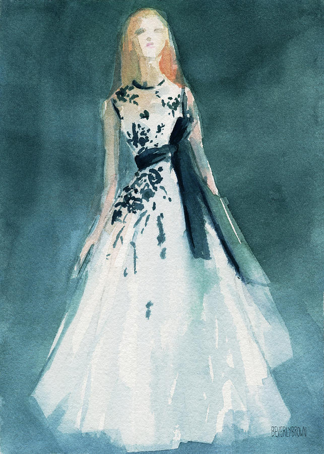 Teal And White Evening Dress Painting By Beverly Brown
