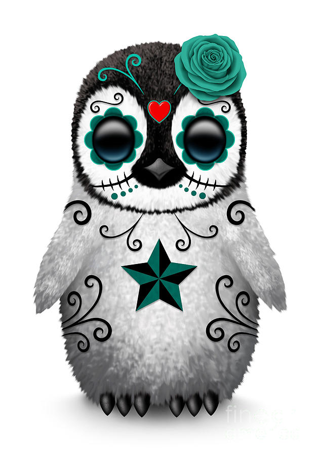 Teal Blue Day Of The Dead Sugar Skull Penguin Digital Art