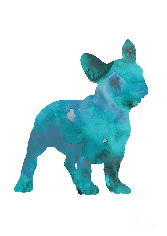 Frenchie Painting - Teal frenchie abstract painting by Joanna Szmerdt