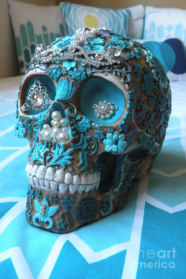 Skull Sculpture - Teal Gem Art Skull by Rita H Ireland