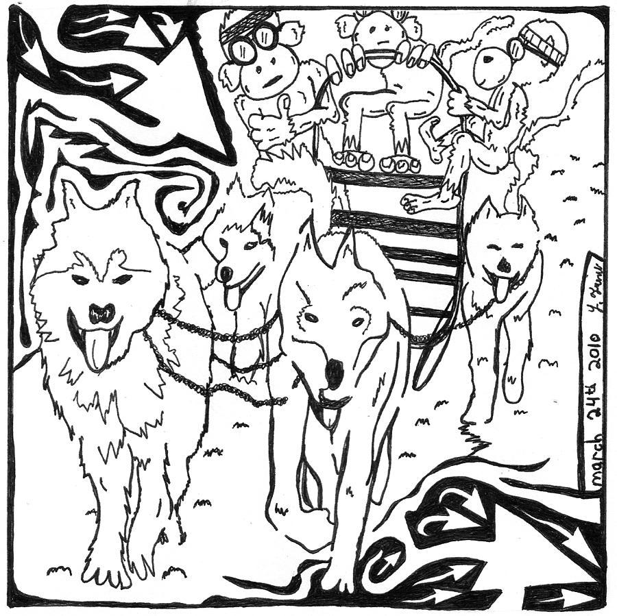 Maze Drawing - Team Of Monkeys Dog Sled Maze by Yonatan Frimer Maze Artist