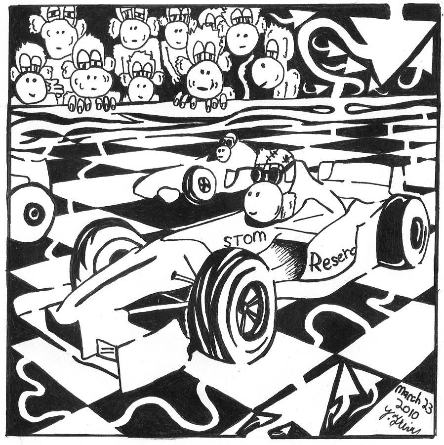 Yonatan Drawing - Team Of Monkeys Go Kart Race by Yonatan Frimer Maze Artist