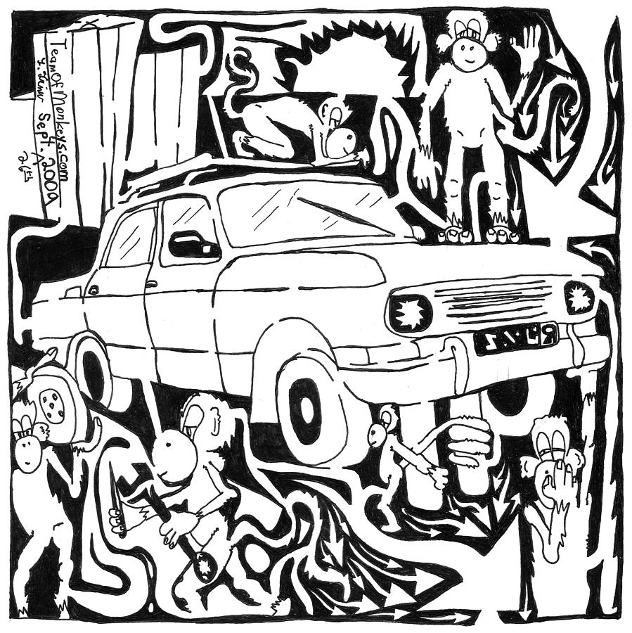 Monkeys Painting - Team Of Monkeys Maze Comic Changing Tire by Yonatan Frimer Maze Artist