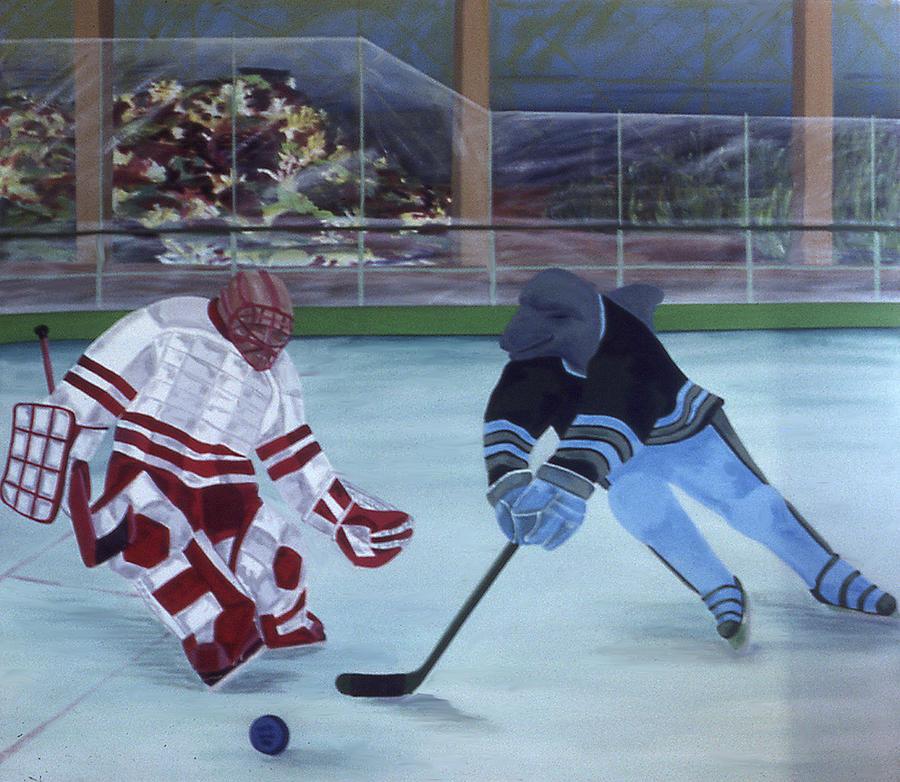 Hockey Painting - Team Plane Vs Team Dolphins by Ken Yackel