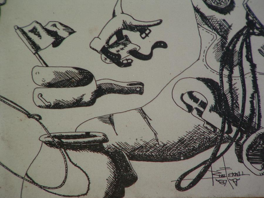 Ink Drawing - Team Roping Items by Buzz Ferrell