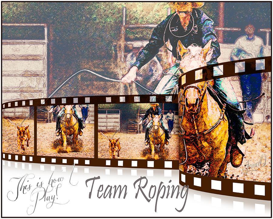 Collage Digital Art - Team Roping by Janice OConnor