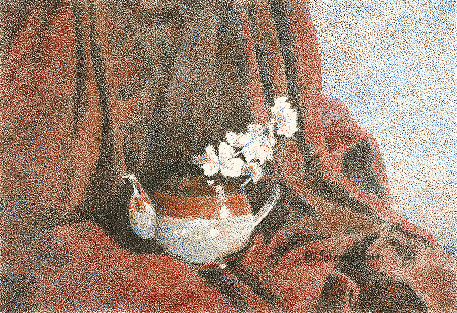 Still Life Painting - Teapot On Red by Pat Schermerhorn