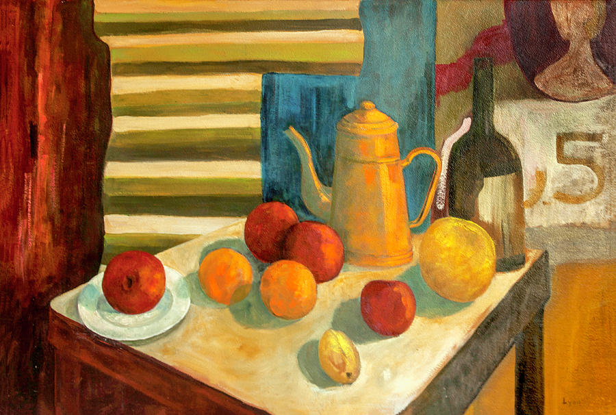 Teapot with Fruit and Wine by Lynn Palmer