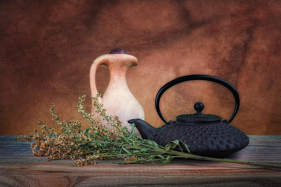 Baby's Breath Photograph - Teapot With Pitcher Still Life by Tom Mc Nemar