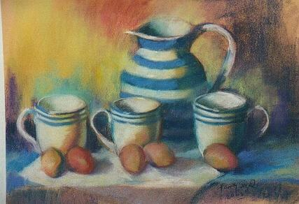 Still Life Painting - Teapot...cups ....and Eggs by Harvey Segal