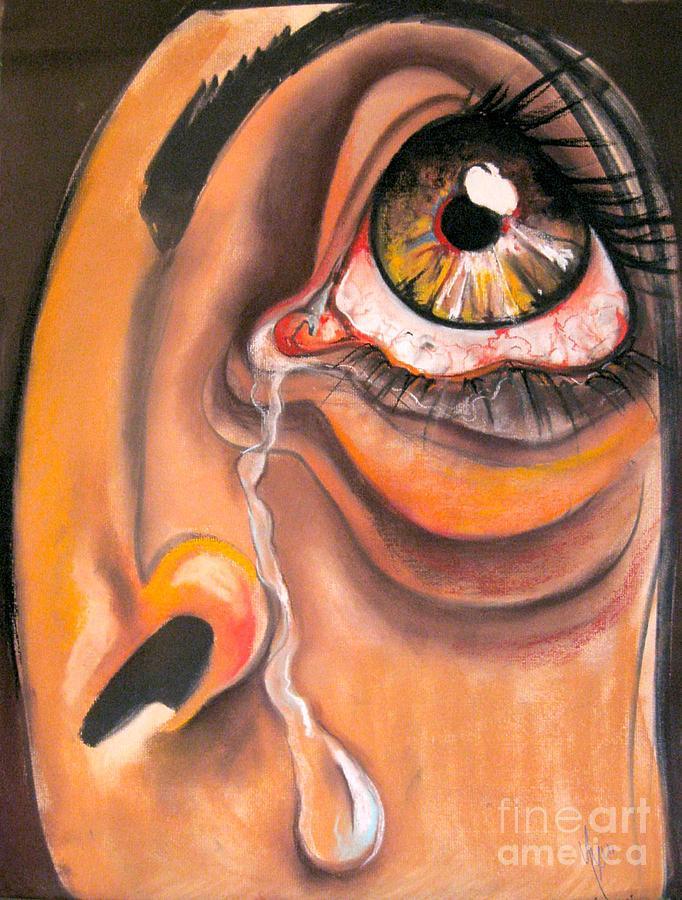 Eye Drawing - Tear by Yxia Olivares