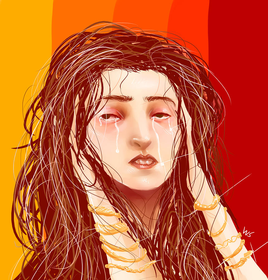 Woman Digital Art - Tears And Fake Gold by Willow Schafer
