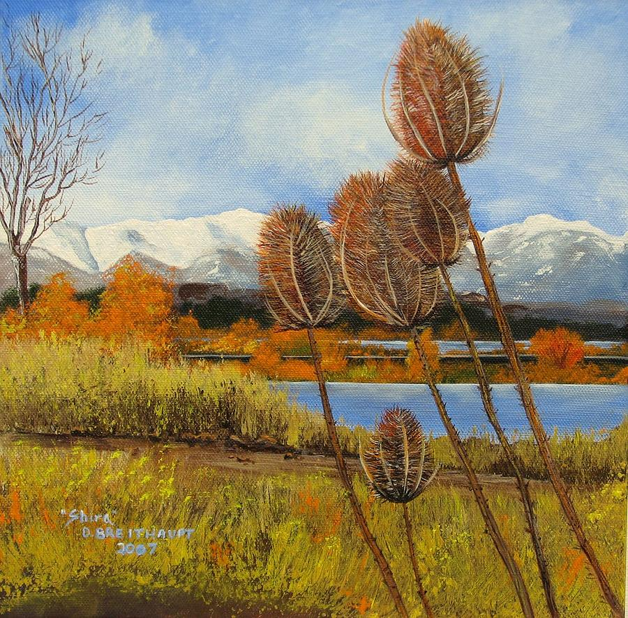 Wild Flowers Painting - Teasel In Autumn by Shira Diana Breithaupt