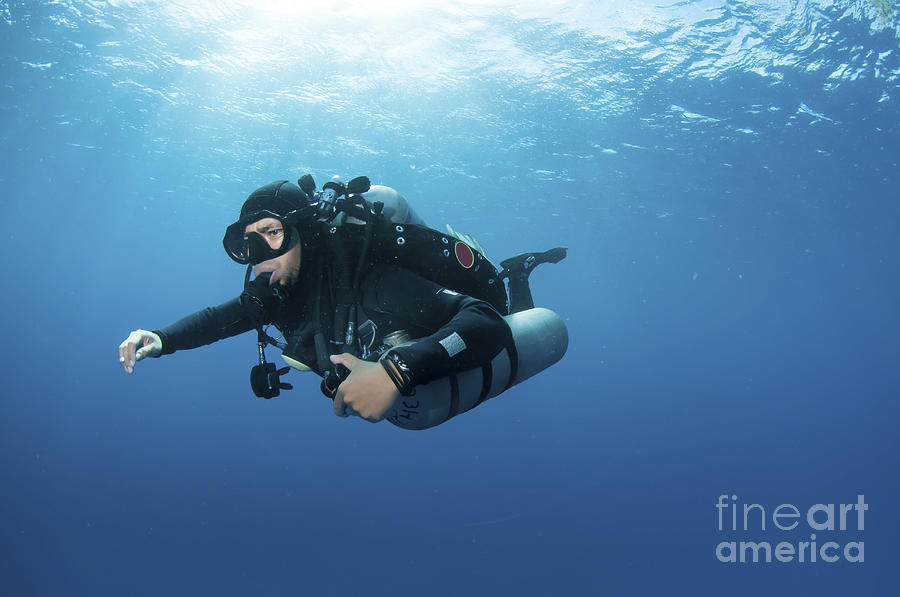 Diver Photograph - Technical Diver With Equipment Swimming by Karen Doody
