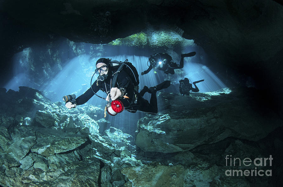 Chac Mool Photograph - Technical Divers Enter The Cavern by Karen Doody