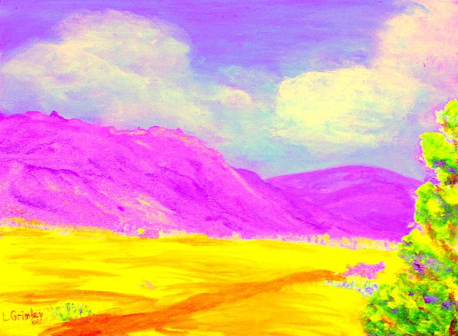 Mountains Painting - Technicolor Desert by Lessandra Grimley