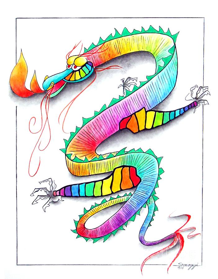 Rainbow Drawing - Technicolor Dragon -- Rainbow-colored Whimsical Dragon  by Jayne Somogy
