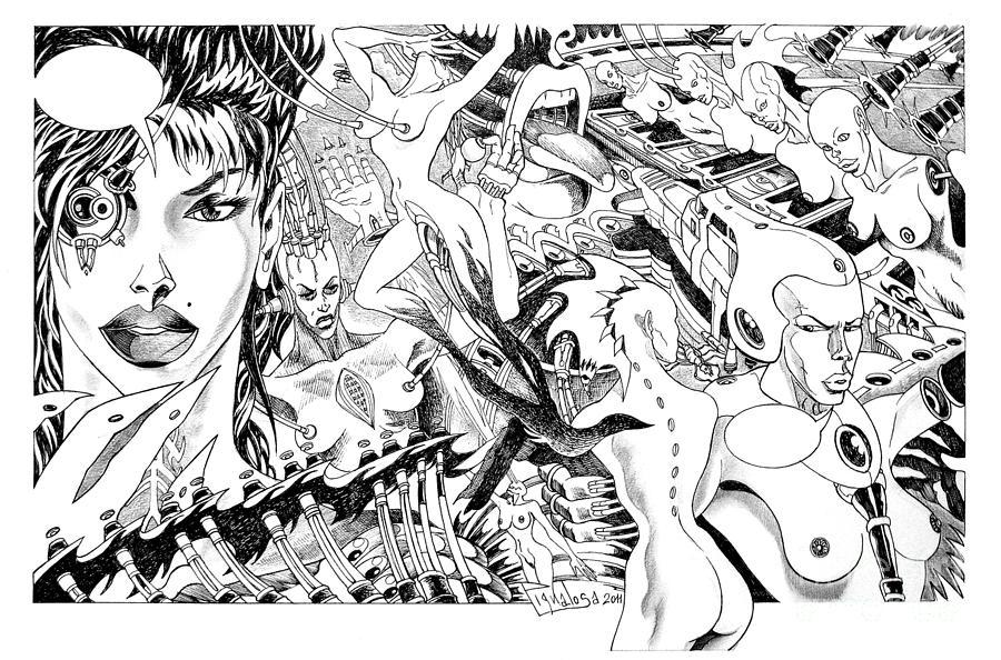 Arte Drawing - Techno Lady Buisness by Ciro Pignalosa