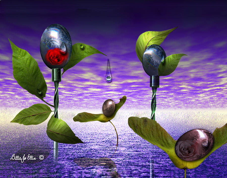 Landscape Digital Art - Techno Nature - Flower Drills by Billie Jo Ellis