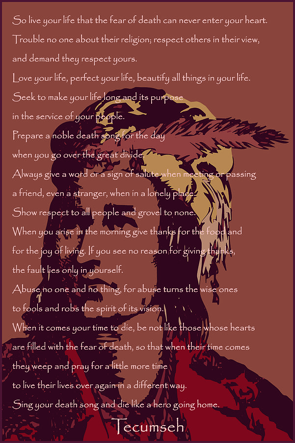 Native American Digital Art - Tecumseh by David Strong