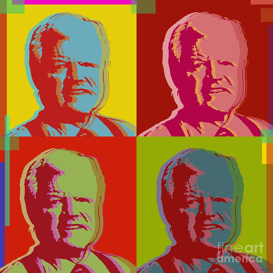 Kennedy Digital Art - Ted Kennedy by Jean luc Comperat