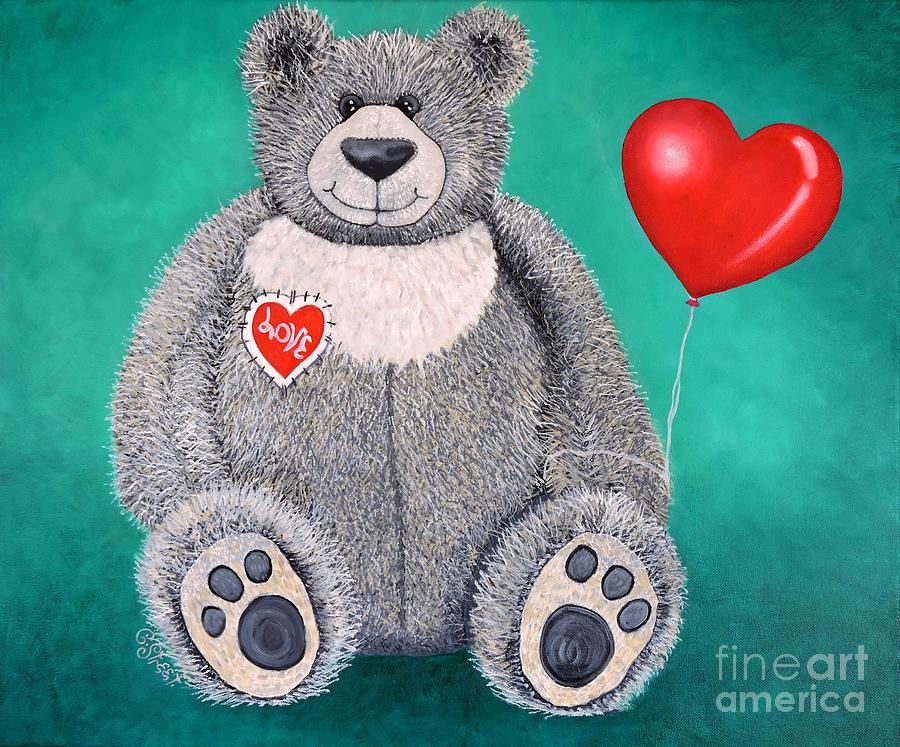 Teddy Bear Painting - Teddy Bear Eli by Caroline Street