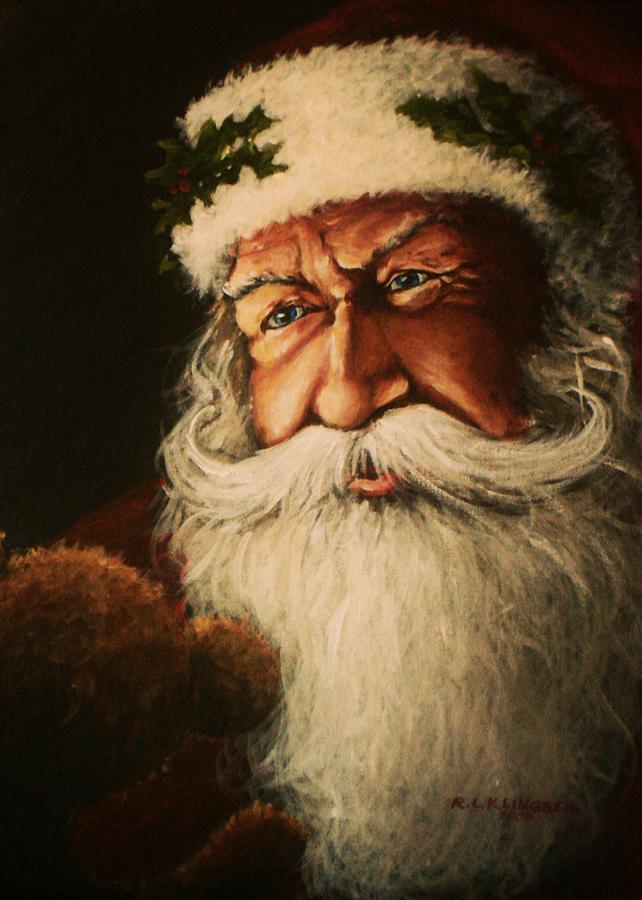 Santa Painting - Teddy Bear by Richard Klingbeil