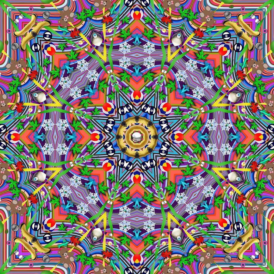 Kaleidoscope Digital Art - Teddy Bear Tears 1255k8 by Brian Gryphon