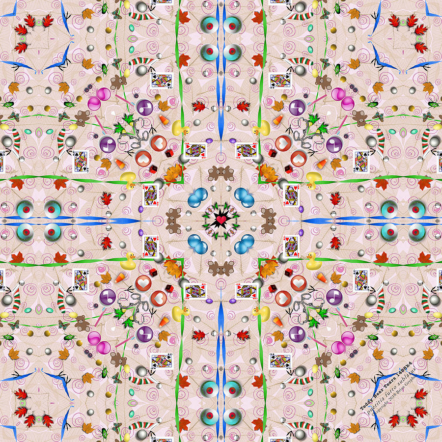 Kaleidoscope Digital Art - Teddy Bear Tears 1488k4 by Brian Gryphon