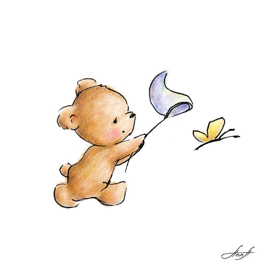 teddy bear with a butterfly digital art by anna abramska cute bear cub clipart bear cub clipart black and white