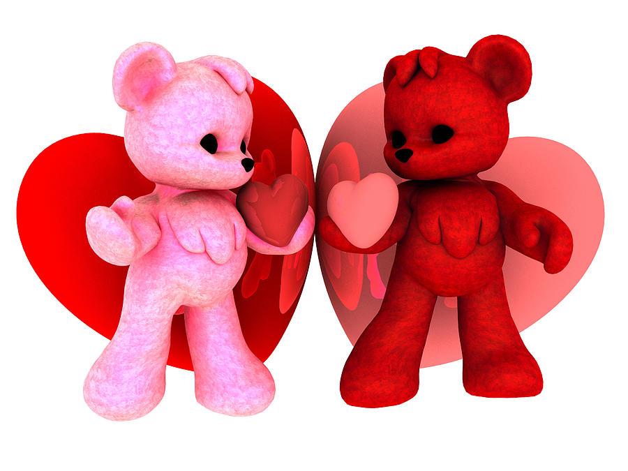 3d Digital Art - Teddy Bearz Valentine by Alexander Butler