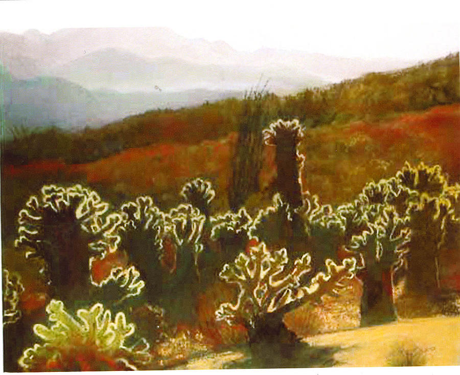 Landscape Painting - Teddybear Cactus by Florence Unkeless