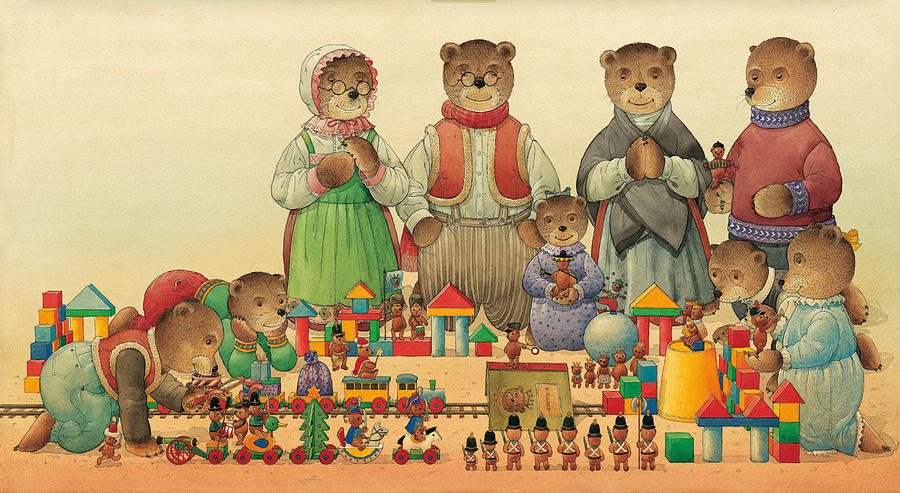 Teddybears And Bears Christmas Painting by Kestutis Kasparavicius