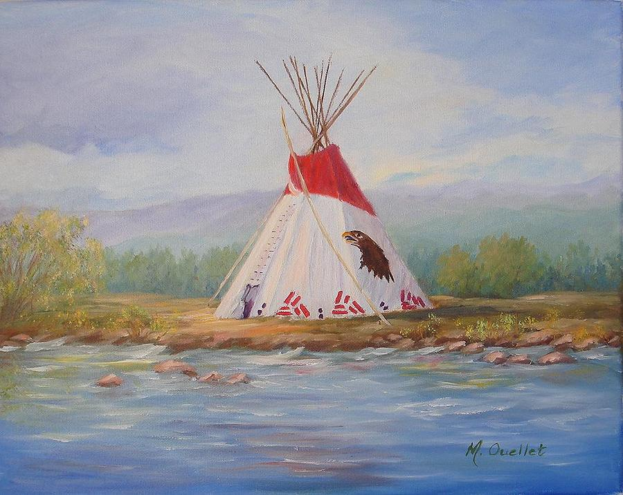 Landscape Painting - Tee Pee by Maxine Ouellet