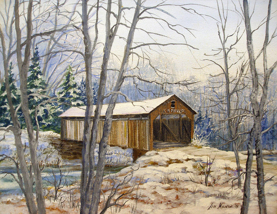 Oil Painting;bridge;covered Bridge;winter Scene;snow;landscape;winter Landscape; Painting - Teegarden Covered Bridge In Winter by Lois Mountz