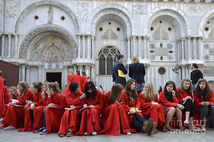 Teenagers Photograph - Teenager Girls From A Uk Choral Group Waiting Outside St Mark Basilica In Venice by Sami Sarkis