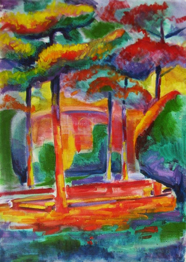 Tree Painting - Tehran Universitys Garden by Mehrdad Sedghi