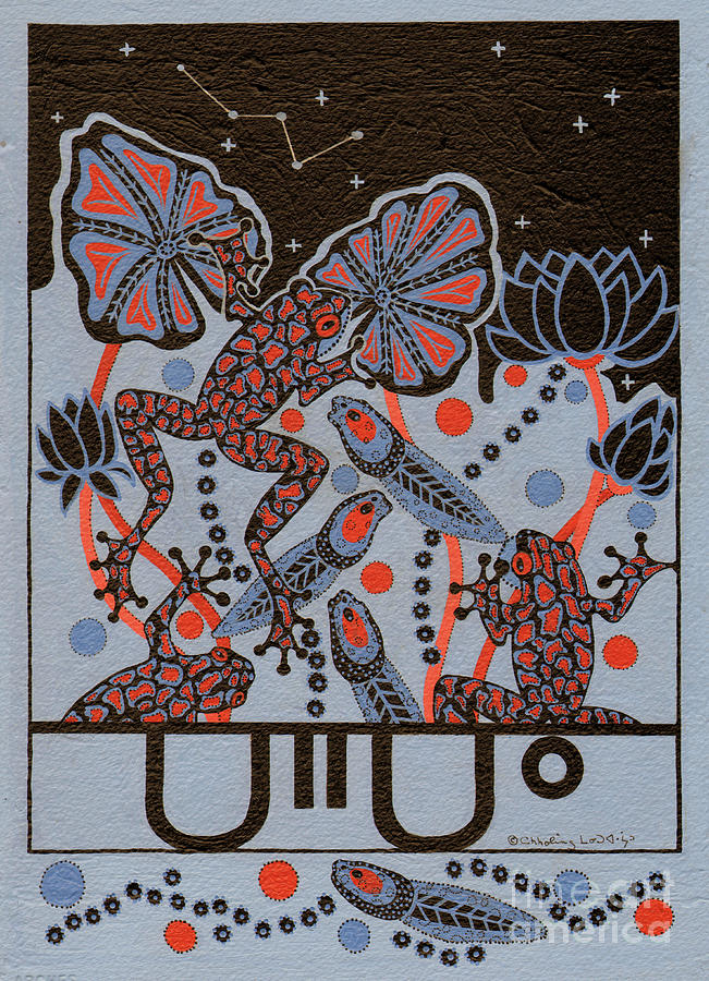 Native American Painting - Tehteu Little Green Frogs by Chholing Taha