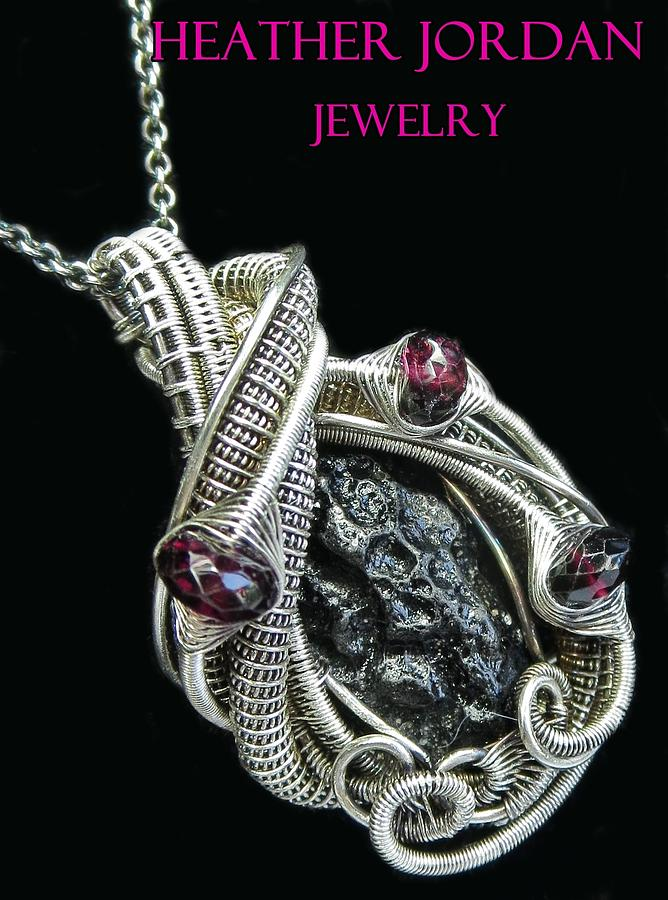 Tektite Meteorite Impactite Pendant In Antiqued Sterling Silver With