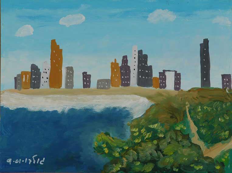 Coastline Painting - Tel Aviv Coastline by Harris Gulko
