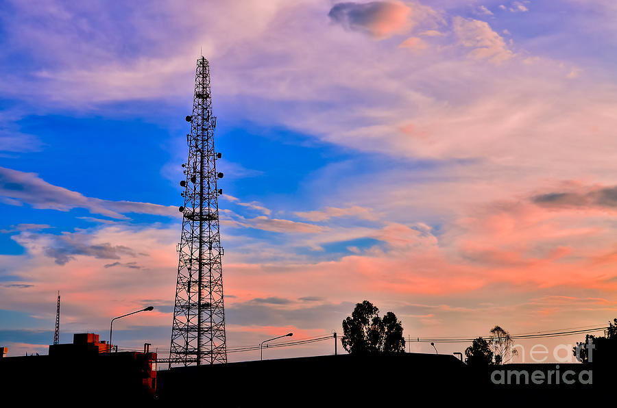 Aerial Photograph - Telecommunications Towers by Nuttapong Wongcharoenkit