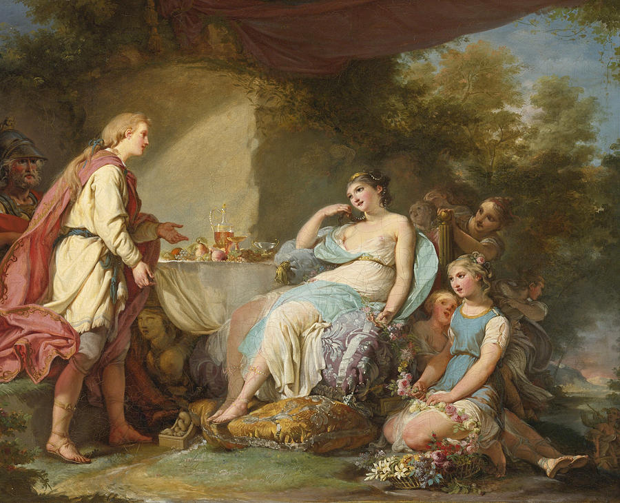 Telemachus On The Island Of Goddess Calypso Painting By Hugues