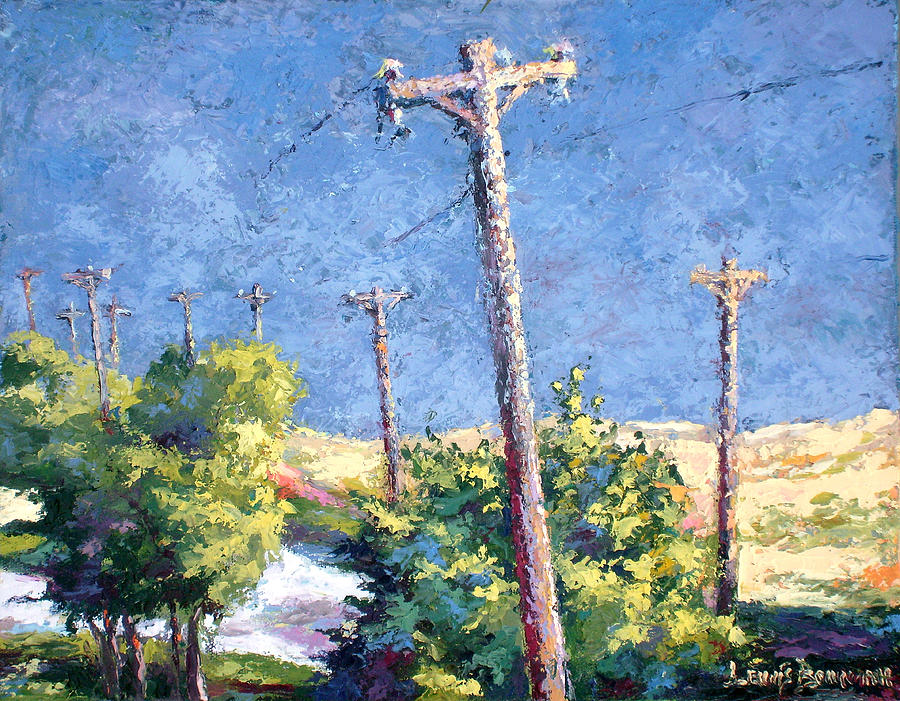 Landscape Painting Painting - Telephone Poles Before The Rain by Lewis Bowman