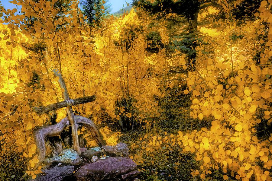 Cross Photograph - Telluride Spirituality - Colorado - Autumn Aspens by Jason Politte